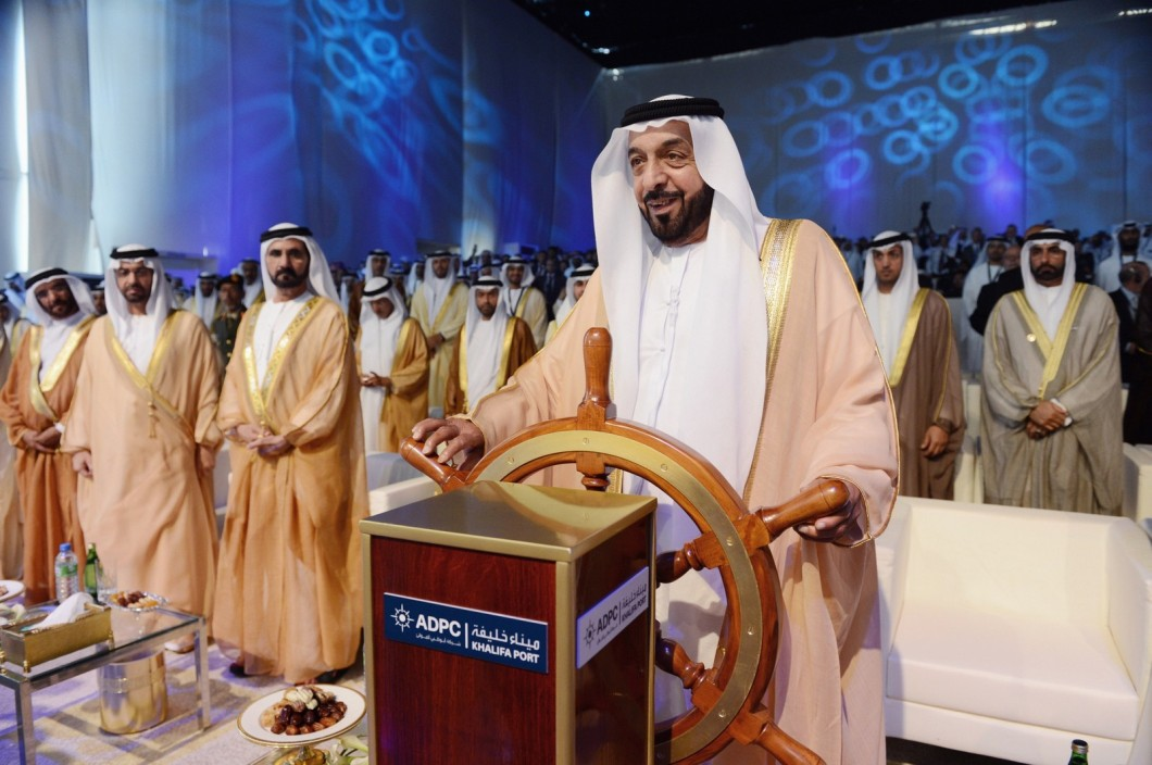 President of the United Arab Emirates Sheikh Khalifa bin Zayed bin Sultan Al Nahyan is seen at Khalifa Port during the official inauguration of the container terminal in Abu Dhabi