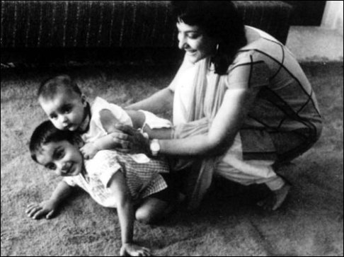Nargis with 2 year old Sanjay and 6 month old Namrata
